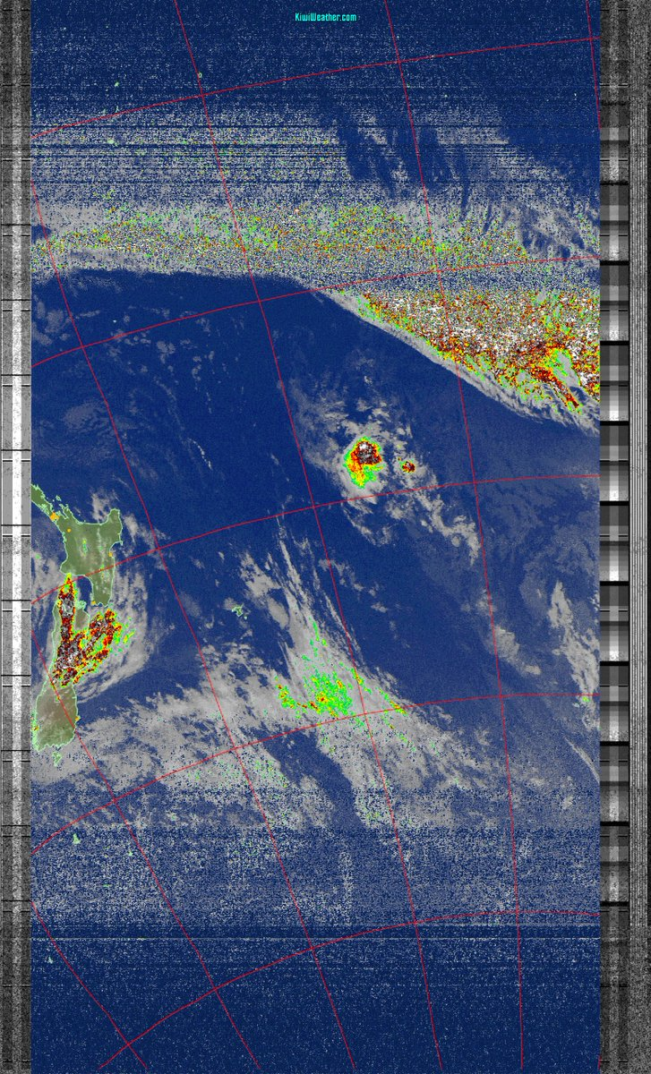 Latest weather satellite pass over Auckland, New Zealand from NOAA 18 on Sun 24 Jan 2021 09:20:50, highlighting potential precipitation (see more at ). (Click on image to see detail) #weather #Auckland #NewZealand