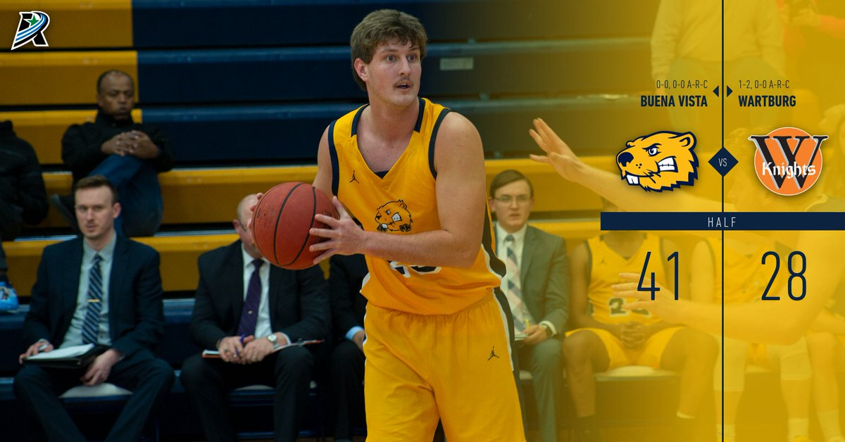 Strong half for @bvu_basketball. Brendan Gary & Jake Thompson each with 11pts. Freshman Zane Neubaum with 8pts, Michael Santich with 6. Beavers shooting 50% from the field and have forced 13 Wartburg turnovers. #BeaverNation #rollriversMBB #FinishStrong