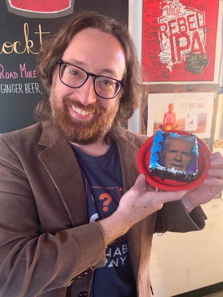 Have you listened to our Jeopardy episode yet? Here is our guest & @Jeopardy contestant Tim Edwards with his Alex Trebek birthday cake.  #Jeopardy #AlexTrebek #PodNation #PodernFamily