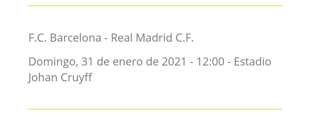‼️ La RFEF anuncia el Barça-Madrid de la J18 de #PrimeraIberdrola para el domingo 31 de enero a las 12:00 horas en el Estadi Johan Cruyff.   🔵🔴 #FCBFemeni | ⚪⚪ #RealMadrid