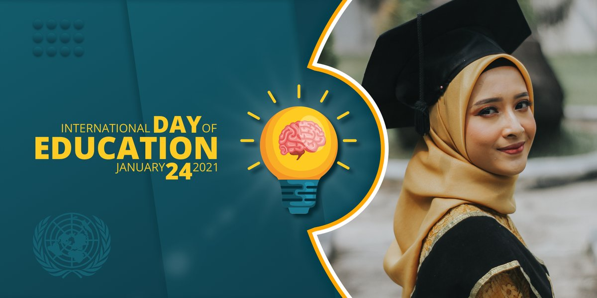 """International Day of Education 24 Jan 2021  """"The learning process continues until the day you die."""" – Kirk Douglas   #InternationalEducationDay #EducationDay #banner #poster #graphicsdesign #creative #socialmedia #design #Advertising #Marketing"""