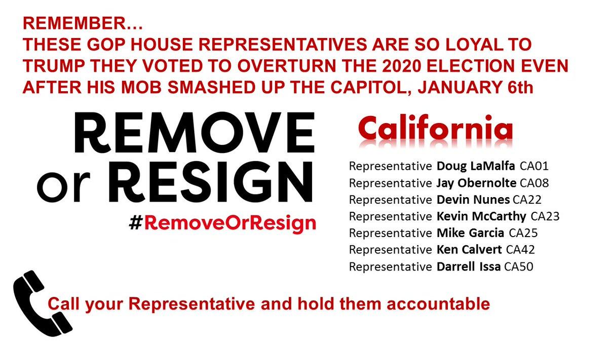 #California hold them accountable!  @RepLaMalfa  @JayObernolte @DevinNunes  @GOPLeader @RepMikeGarcia  @KenCalvert   @repdarrellissa   #RemoveOrResign