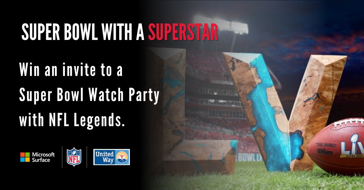 Super Bowl with a Superstar! You could win an invite to an exclusive virtual Super Bowl LV Watch party with players like Franco Harris, Donald Driver, John Randle, and more. @UnitedWay @NFLUnitedWay  Learn how you can WIN: