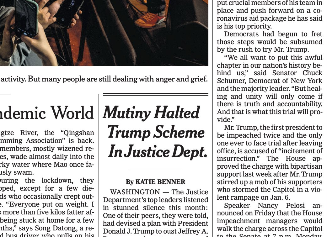 Don't see this headline often on A1 NYT - at least not about  @TheJusticeDept   @ktbenner