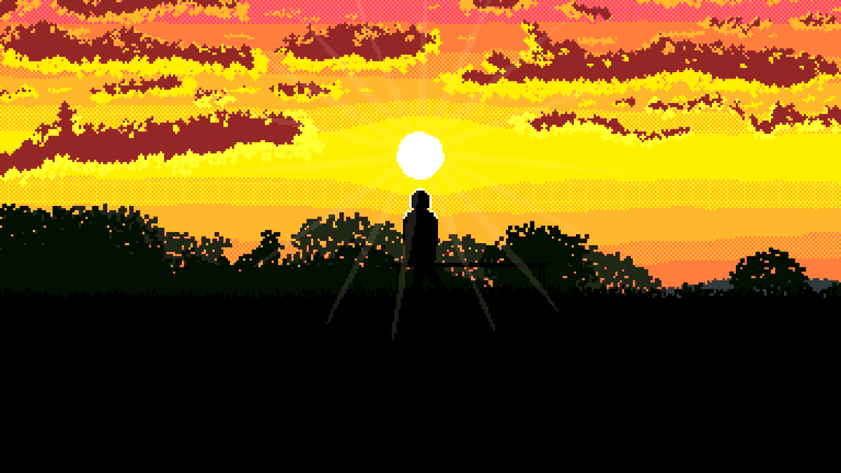I drew this for my mum's birthday. It didn't turn out as good as it looked in my head, but I love sunsets and silhouettes and I have to actually do stuff and try new things to get better. #pixelart #sunset #silhouette