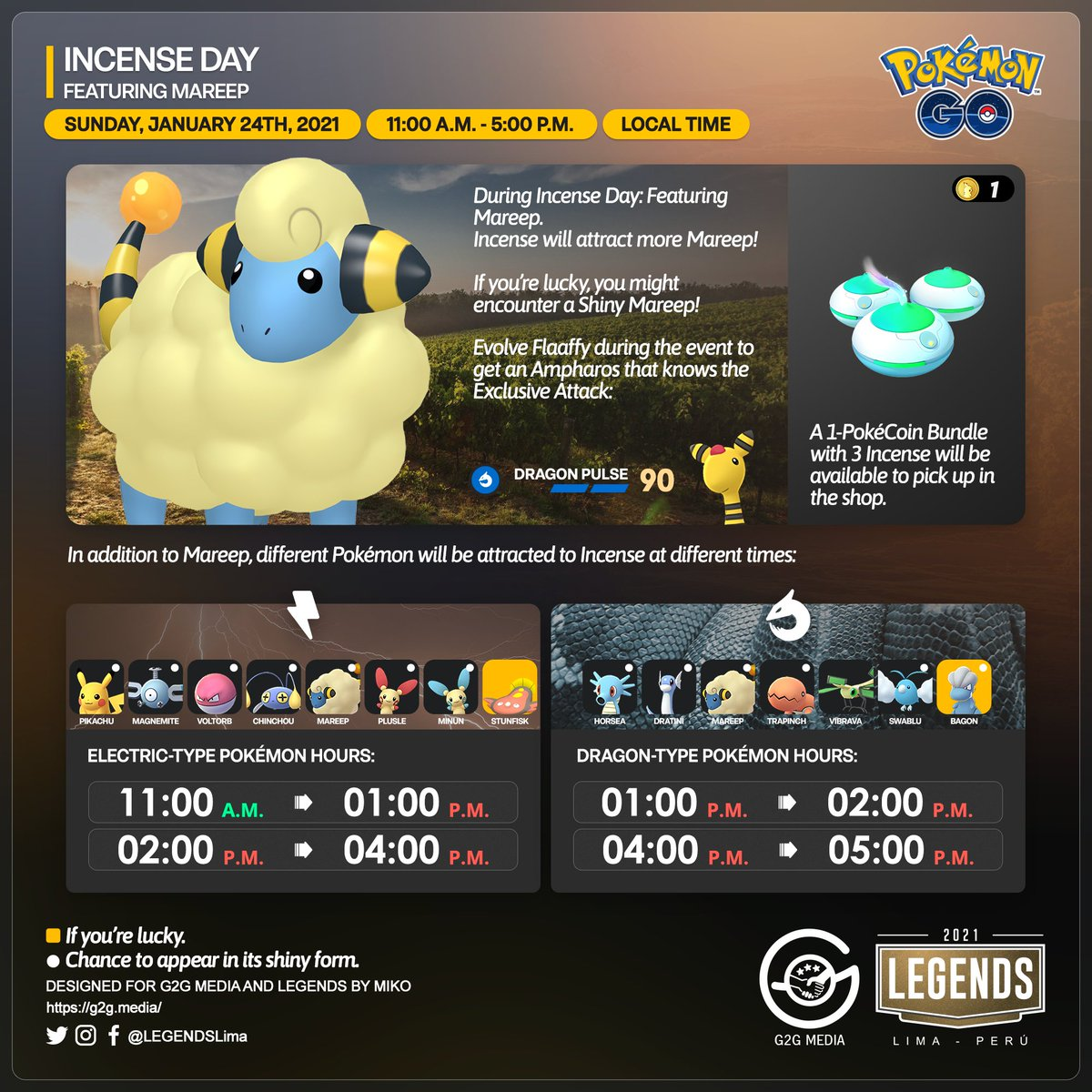🇺🇸 Incense Day: #Electric and #Dragon-type Pokémon, featuring #Mareep!  It is about to start soon.  Let's see all the details.  #PokémonGOApp #G2G #PokémonGO