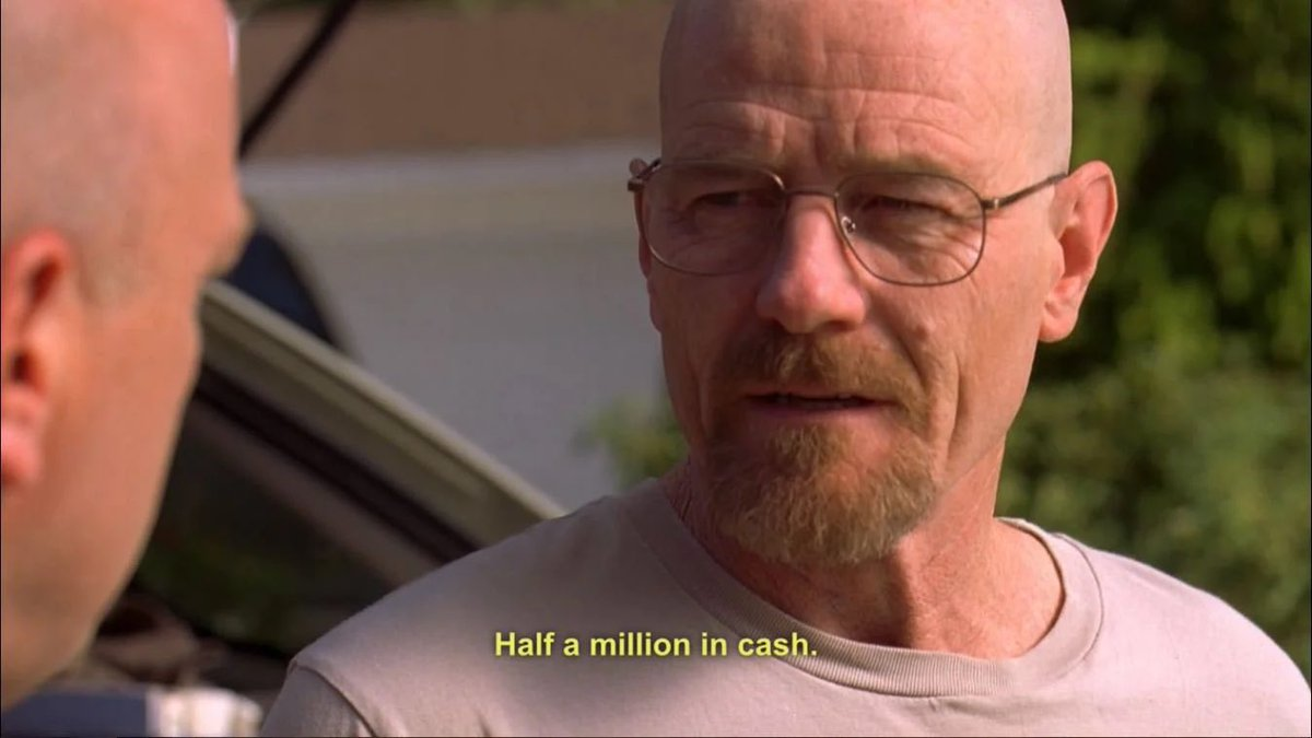 "Hank ""What you got in there? Cinder blocks?""   Walt ""Half a million in cash""   Hank ""Hahaha, that's the spirit""   #breakingbad https://t.co/2TB98CM3UR"