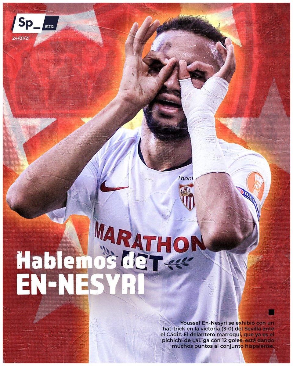 Youssef En-Nesyri se exhibió con un hat-trick en la victoria (3-0) del Sevilla ante el Cádiz. El delantero marroquí, que ya es el pichichi de LaLiga con 12 goles, está dando muchos puntos al conjunto hispalense.  #PortadaSp_ 🗞