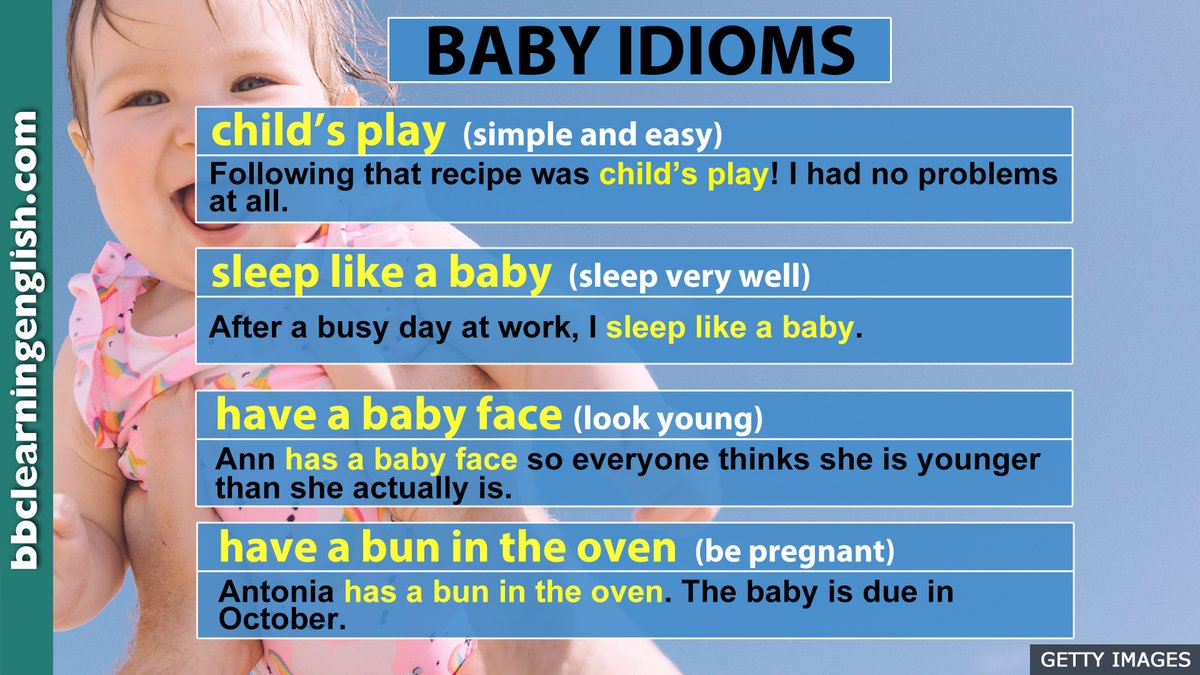👶 Learning these baby-inspired idioms is child's play! 👶 Bookmark this table and improve your #vocabulary. More #idioms here:  #baby #bbclearningenglish #learnenglish #elt #englishtips #sleeplikeababy #babyface #bunintheoven #informalenglish
