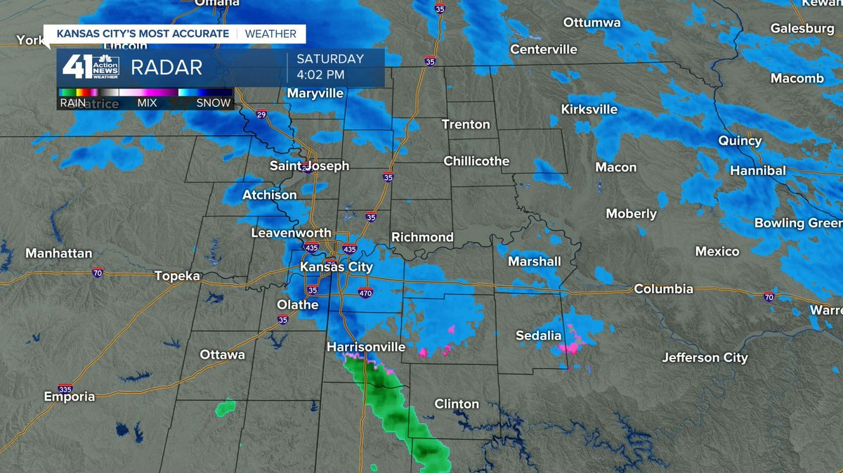 4pm-- Some graupel or light snow is moving northeast through Kansas City now! Are you seeing anything? #mowx #kswx #kcwx