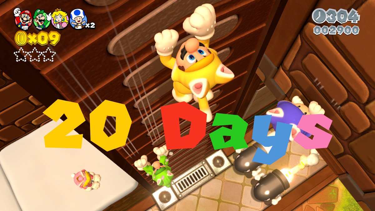 It is currently 20 days until Super Mario 3D World + Bowser's Fury comes out. #SuperMario3DWorld #BowsersFury #SuperMario3DWorldBowsersFury