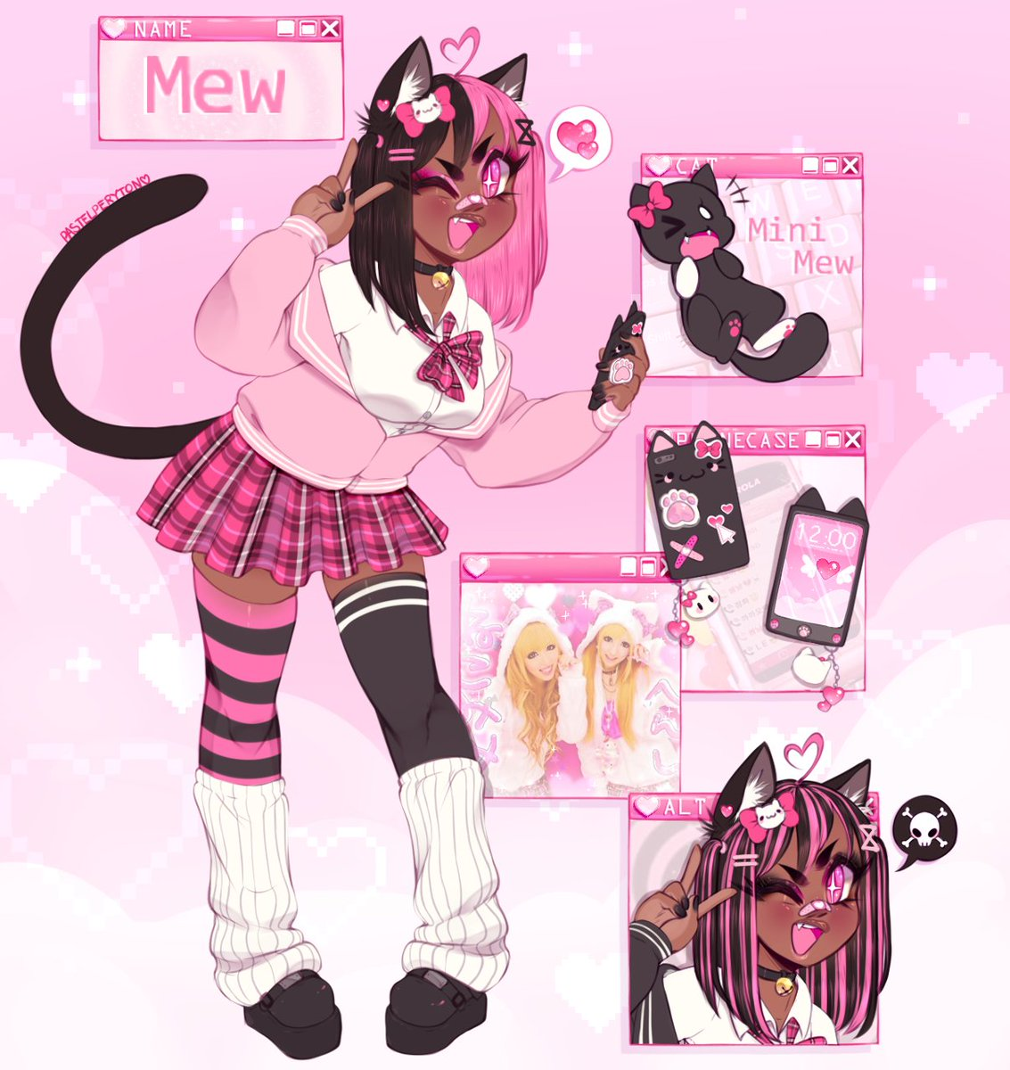 RT @pastelperyton: made a better ref sheet for my kitty Mew !! 💗✨ + closeups on her face + alt colors https://t.co/0C1QToH4L8