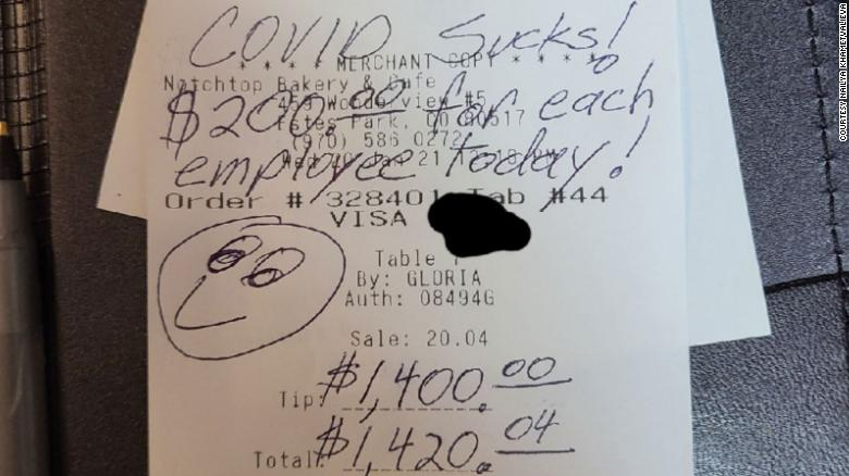 """After a big breakfast at a Colorado restaurant, a generous customer left employees a $1,400 tip and a message that said """"COVID Sucks!"""""""