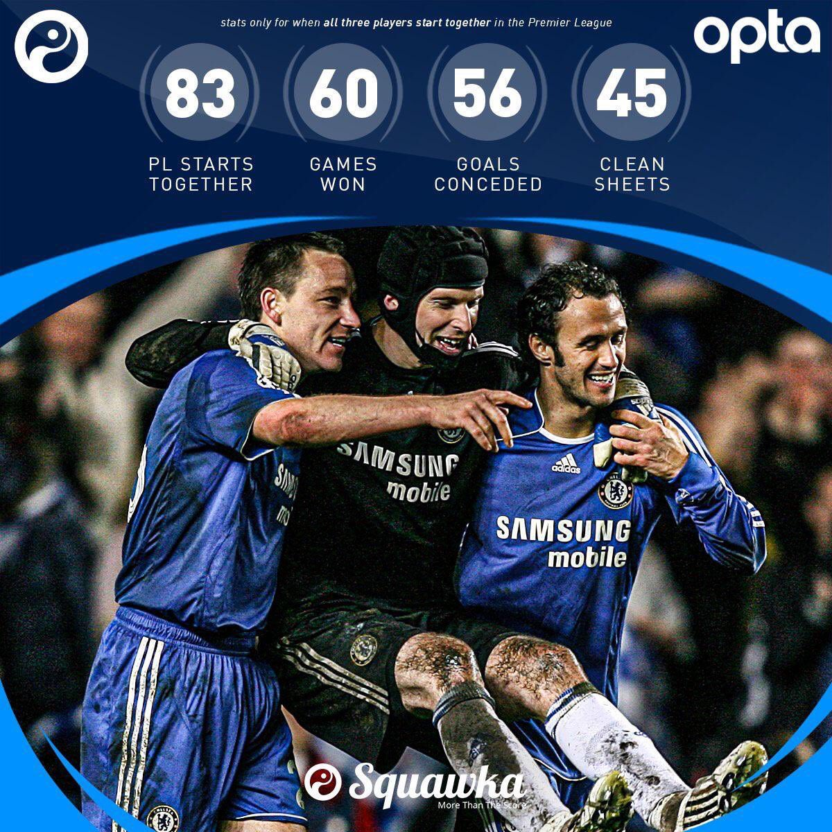 What a record @PetrCech, John Terry and Ricardo Carvalho had when they played together. 💙
