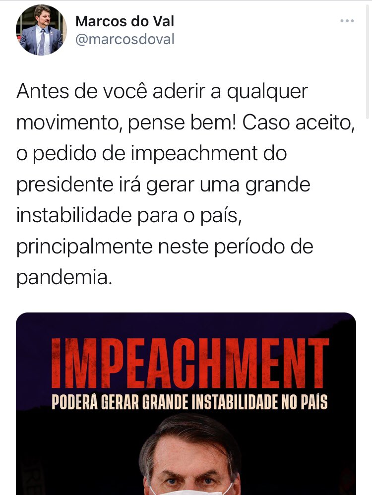 """Puxa, imagina se o impeachment de Bolsonaro acaba com essa incrível estabilidade tranquila que temos no país? Fora que o impeachment também poderia interromper as várias reformas que sempre avançaram no governo reformista de Bolsonaro, né?  (Essa é a """"lógica"""" dos bolsonaristas)👇🏻"""