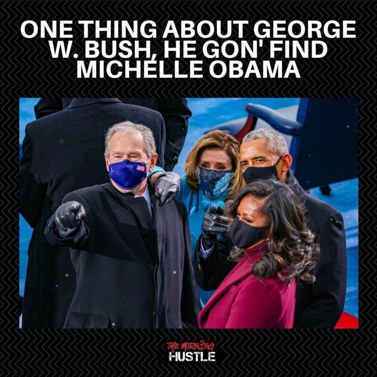 I wish he found Katrina relief this fast 🙁😑   #georgebush #MichelleObama #InaugurationDay2021