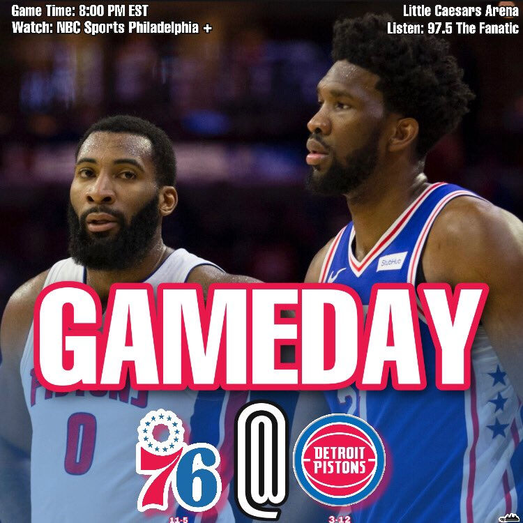 GAMEDAY  . The #76ers will be headed to Detroit to play the #Pistons.  #HereTheyCome #DetroitUp