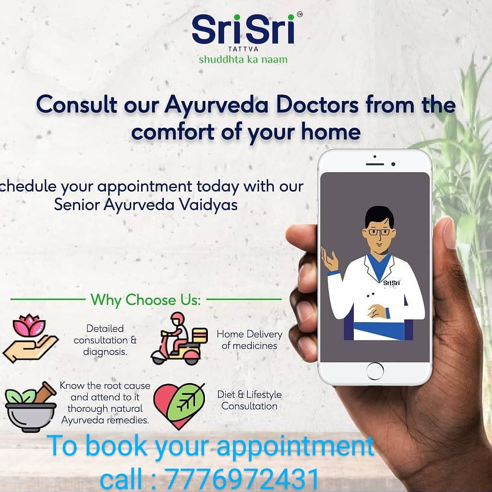 The global crisis today has made way for solutions that weren't earlier thought possible. Online Video-consultations with your #SriSriTattva #Ayurveda #Doctor can help you get on-time, adequate medical care and follow-ups, while you sit comfortably at home. #SriSriTattva #Purity
