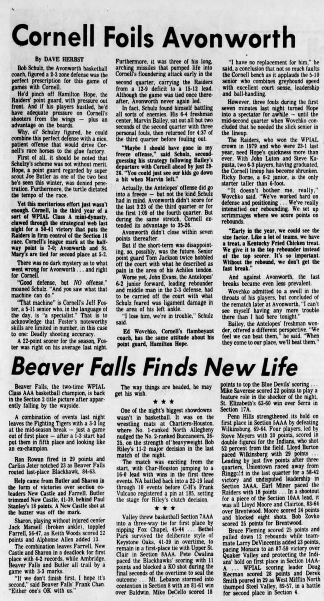 40 years ago (1/23/81): Cornell beats Avonworth, 50-41. #WPIAL