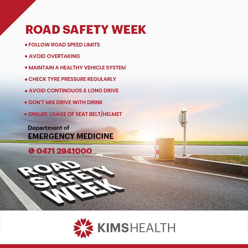 Every day, hundreds lose their lives or meet with accidents on the road. During Road Safety Week, let us increase awareness and spread the message of being careful.  #KIMSHealth #RoadSafety #RoadSafetyWeek