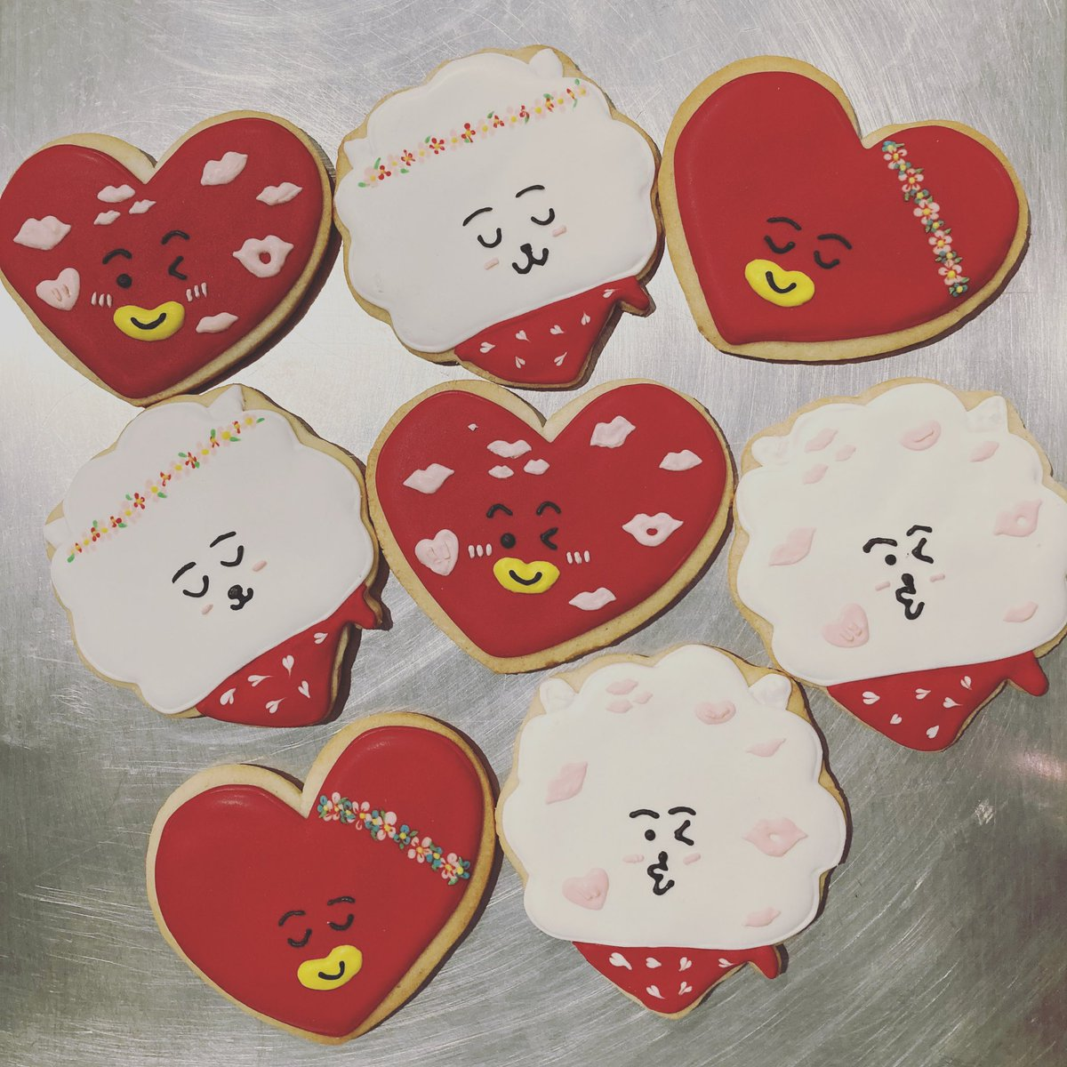 Sold out of TATA, but I do have a few RJs left if anyone is interested! DM me! I can ship them as well! #bt21 #bts #tata #rj #army #socalarmys #cookies #kookies #flowerRJ #FlowerV #sugarcookies #cupsleeves #btscupsleeves #BTSJIN #BTSV #jin #v #tae #kth #ksj @btscalinoonas1
