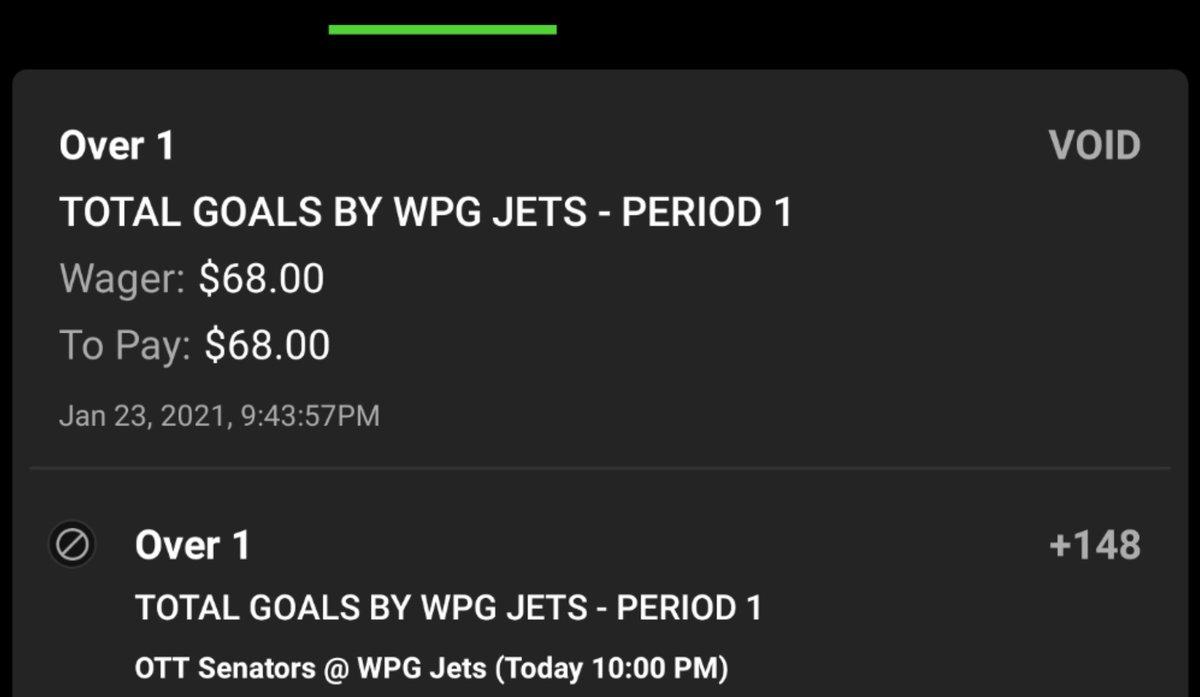 PUSH⏸️ #WinnipegJets Score 1 Goal 1st Period 🏒 #NHLPicks #FreePicks Saturday January 23, 2021🏒  Jets over 1g p1 +148 vs Senators 🏒  Note:  #JetsTwitter 4-1 scoring goal in p1 #Ottawa 4-0 allowing goal in p1  #bettingtips #NHLJets #NHL #bettingpicks #bettingtwitter #SportsPicks