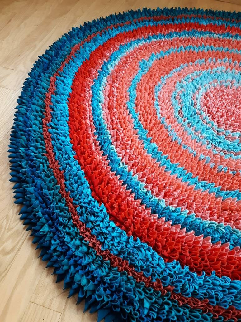 25% OFF SALE!  VIBRANT Orange and Blue Positive Energy Rug, 5 ft round handmade rug, Southwest colors teal, turquoise, Plush and Thick   #orange  #blue   #southwest #energy #rug #handmade #upcycled #boho #reiki