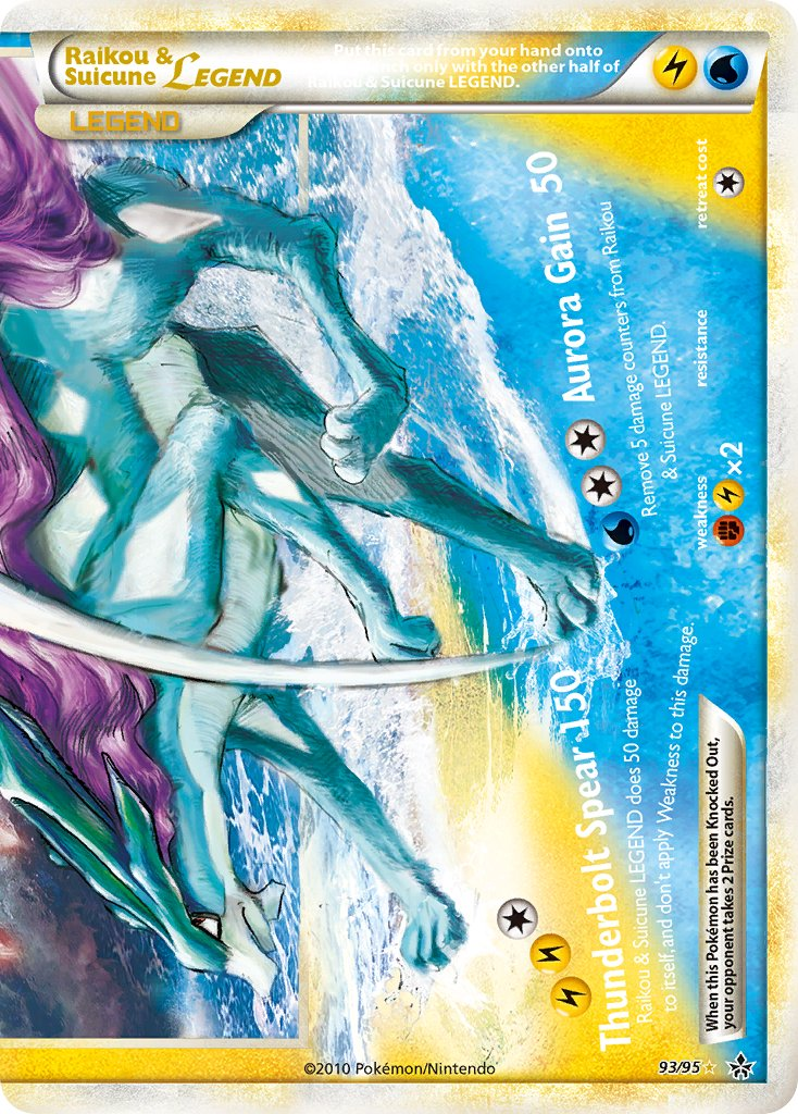 Raikou & Suicune LEGEND from the 'HeartGold & SoulSilver: HS—Unleashed' set!    Artwork by:   #PokemonTCG #PokemonCards #Pokemon