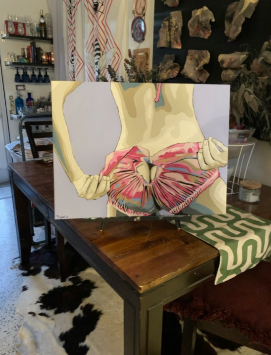 Check out 'Here I Go Again' Original #Painting on #Canvas #Pink #Panties #Woman #PopArt  via  @eBay