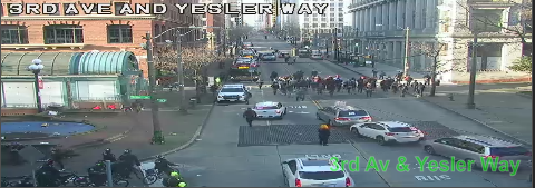UPDATE: March on 3rd Ave and Yesler Way blocking the all lanes moving NB. Use caution and seek alternate routes. https://t.co/ImxSEJi9To