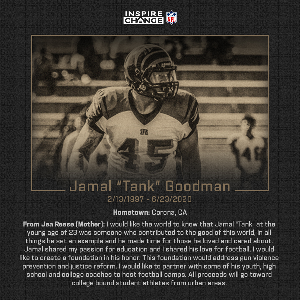"""Say His Name: Jamal """"Tank"""" Goodman  Jamal is one of the many individuals being honored by players and coaches this season through the NFL's helmet decal program.  #SayTheirStories:"""