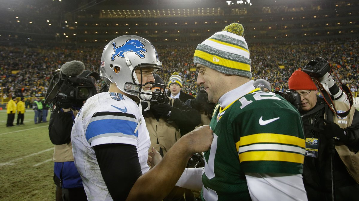The only QBs in NFL history with 45,000+ passing yards and less than 150 INT:  • Aaron Rodgers • Matthew Stafford  end of list