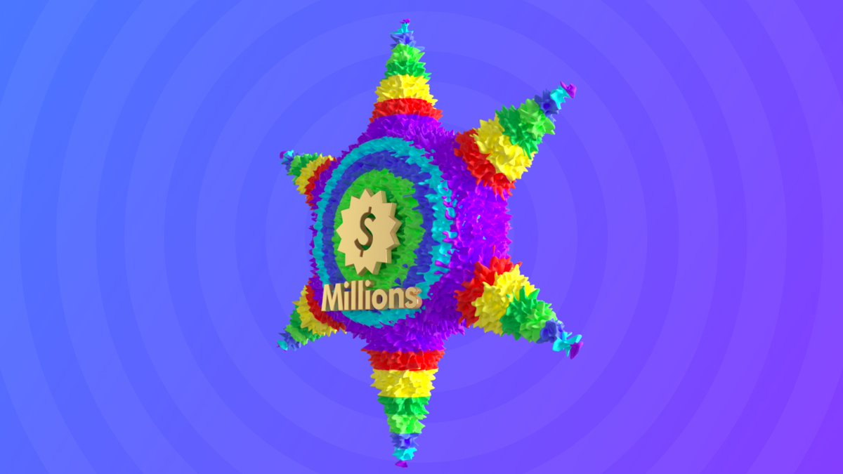 Quickly, break this Piñata  and @Millions will give you $30 💸  One lucky person that tags a friend and ❤️'s will win 🎊