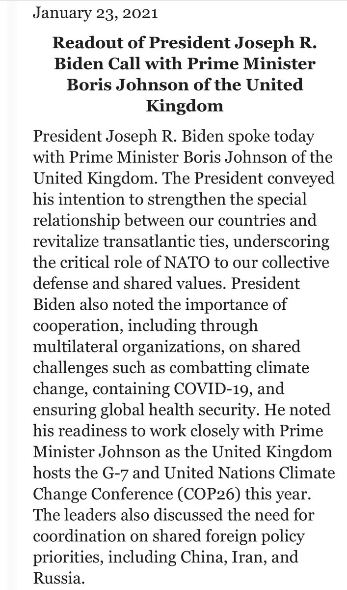 """President Biden spoke to the leaders of Canada and Mexico yesterday and moved on to the UK today. """"The President conveyed his intention to strengthen the special relationship between our countries and revitalize transatlantic ties, underscoring the critical role of NATO."""""""