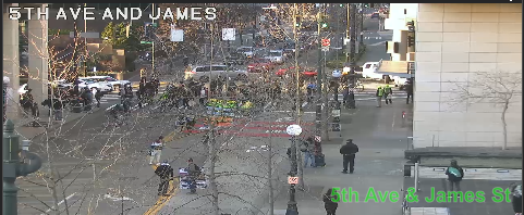 UPDATE: March on 5th Ave between Cherry St and James St blocking the all lanes. Use caution and seek alternate routes. https://t.co/0RQWJfNbEh