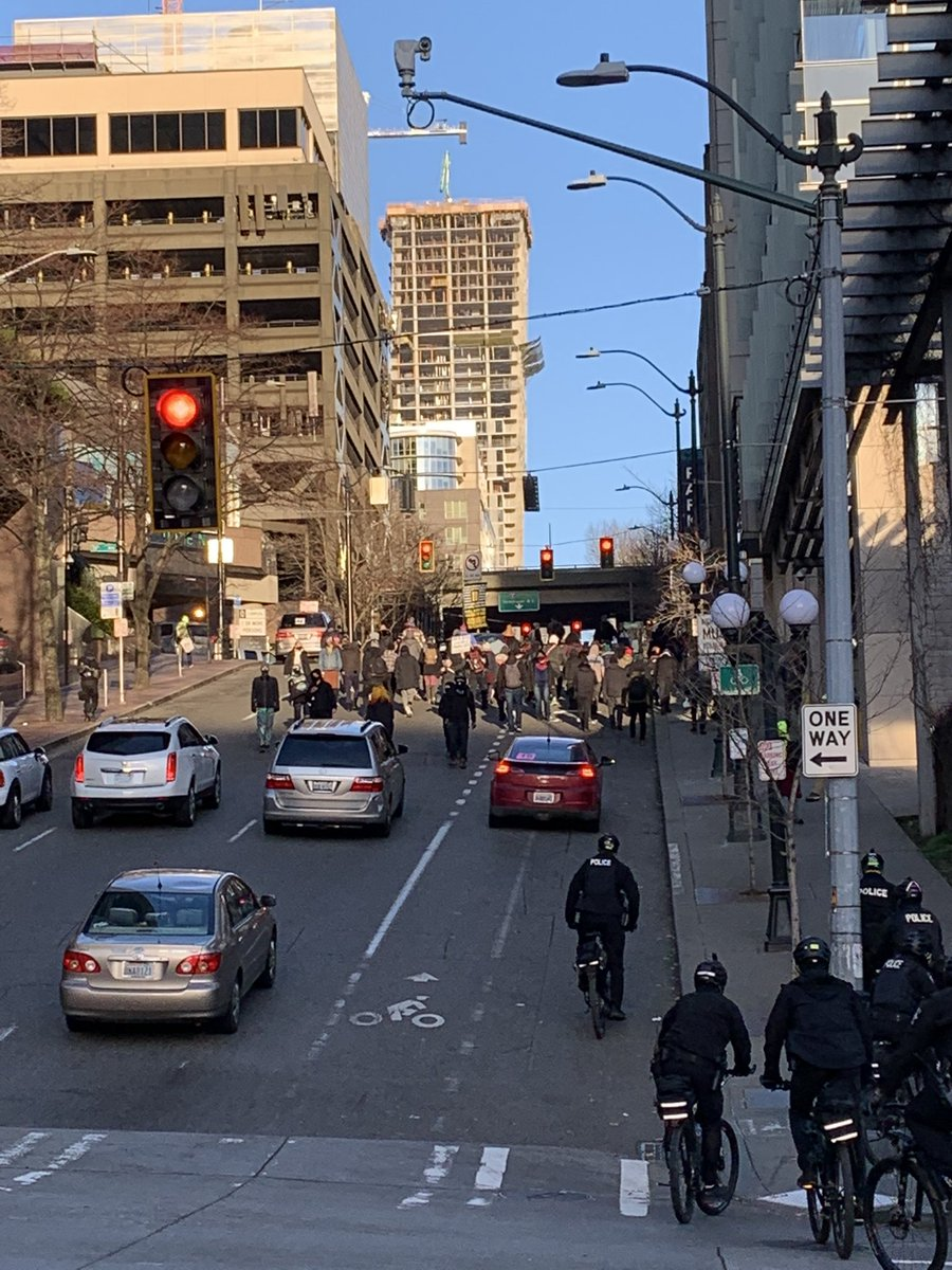 Police are monitoring a group marching in the #Downtown area. They are currently marching East on Cherry Street from 4th Ave. https://t.co/APEa1TqElh