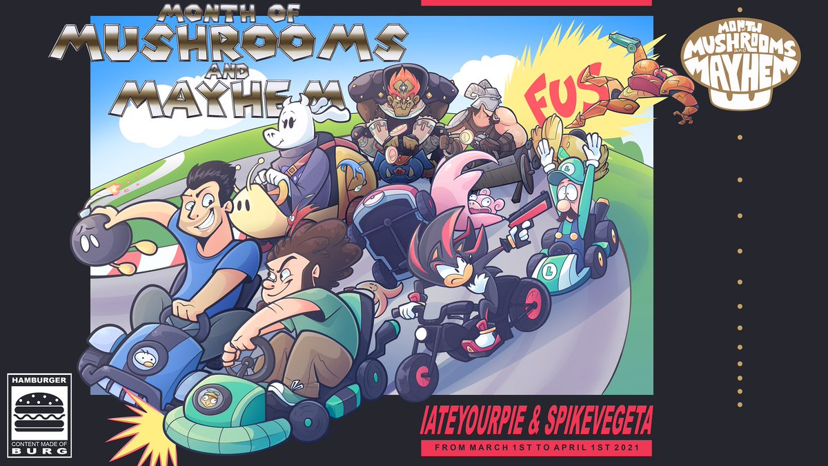 MOMAM is back and better than ever! Come watch Iateyourpie and Spikevegeta duke it out in a month long racing event of all your favorite games starting March 1st! Find out all about the event and how you can win a PS5 + Xbox X + Switch at streambig.net/momam6!