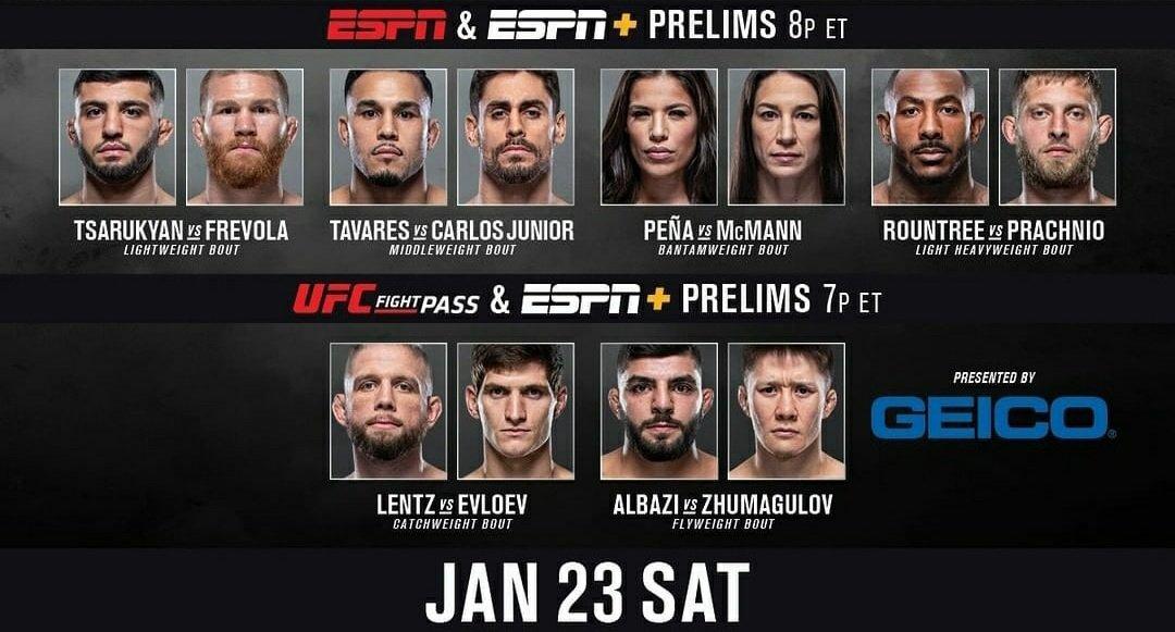 Arranca la transmisión de las preliminares del #UFC257 McGregor vs. Poirier II por ESPN/ESPN2 para Latinoamérica y por Fox Sports en una hora más para México y Chile.
