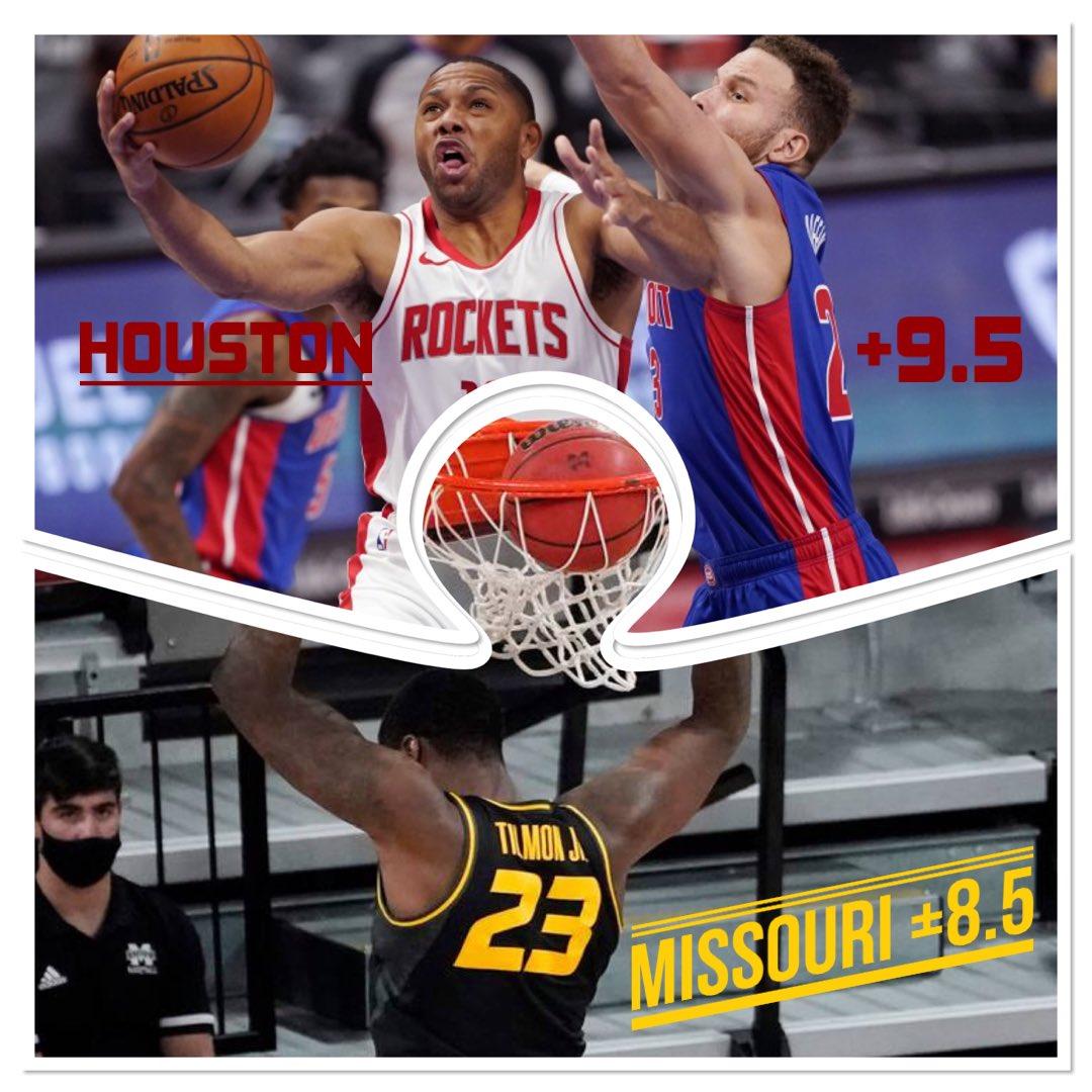 Tonight's FREE PICKS:   🏀NCAAB🏀 Missouri Tigers +8.5   🏀NBA🏀 Houston Rockets +9.5   #FreePicks #SaturdaySplash #NBAPicks #NCAABPicks #GamblingTwitter #UFC257 #NBA #NCAA #Tigers #Rockets