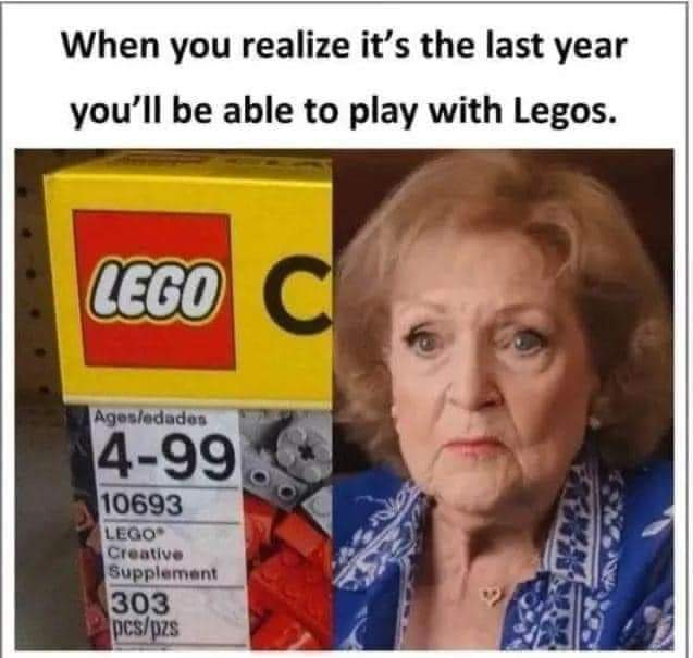 But it's better than breaking a hip after stepping on one. 😜 #lego #bettywhite99 #Celebrity