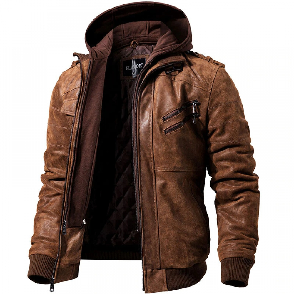 Men's Real Leather Motorcycle Jacket with Removable Hood #cute #photooftheday