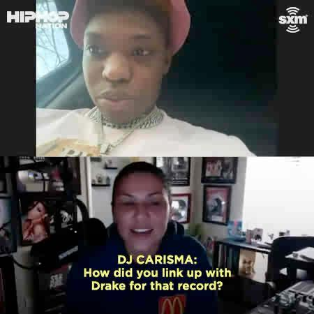 """.@_YungBleu gives @djcarisma the back story on how @Drake slid into his DM's about the feature on """"You're Mines Still."""" 👀   Catch the interview tonight at 12am ET:"""