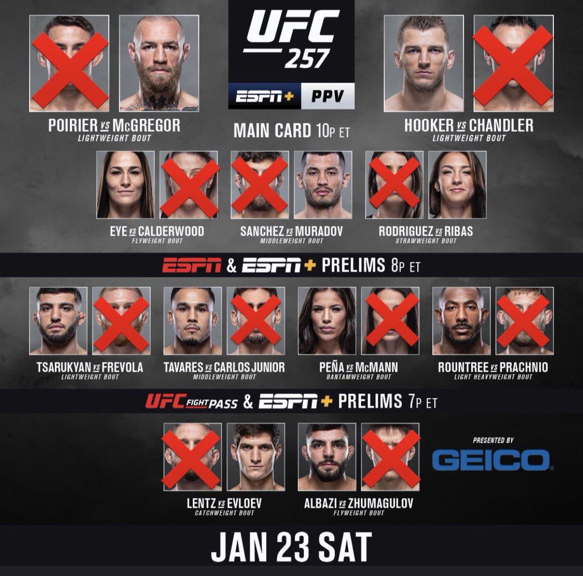 """My official #UFC257 picks for tonight!  """"❌"""" = Loser of the bout fyi"""