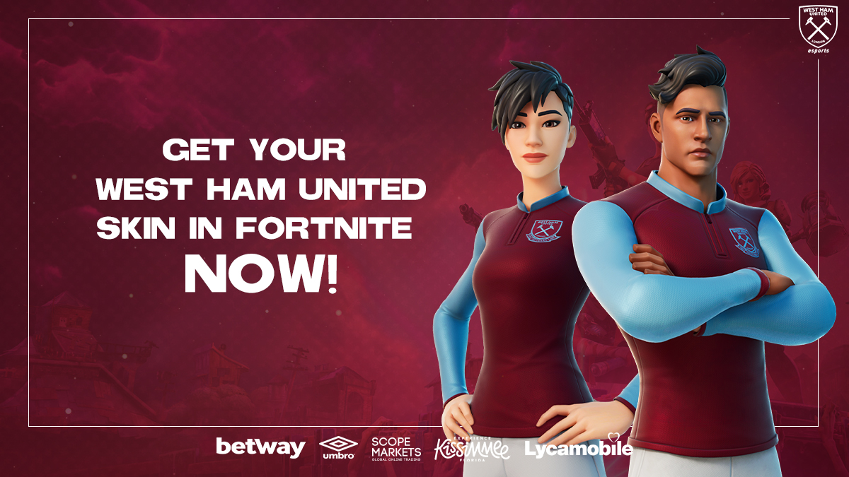 Replying to @WestHamEsports: Sweat mode activated 💧  Get your West Ham United skin in @FortniteGame 𝗡𝗢𝗪! ⚒️