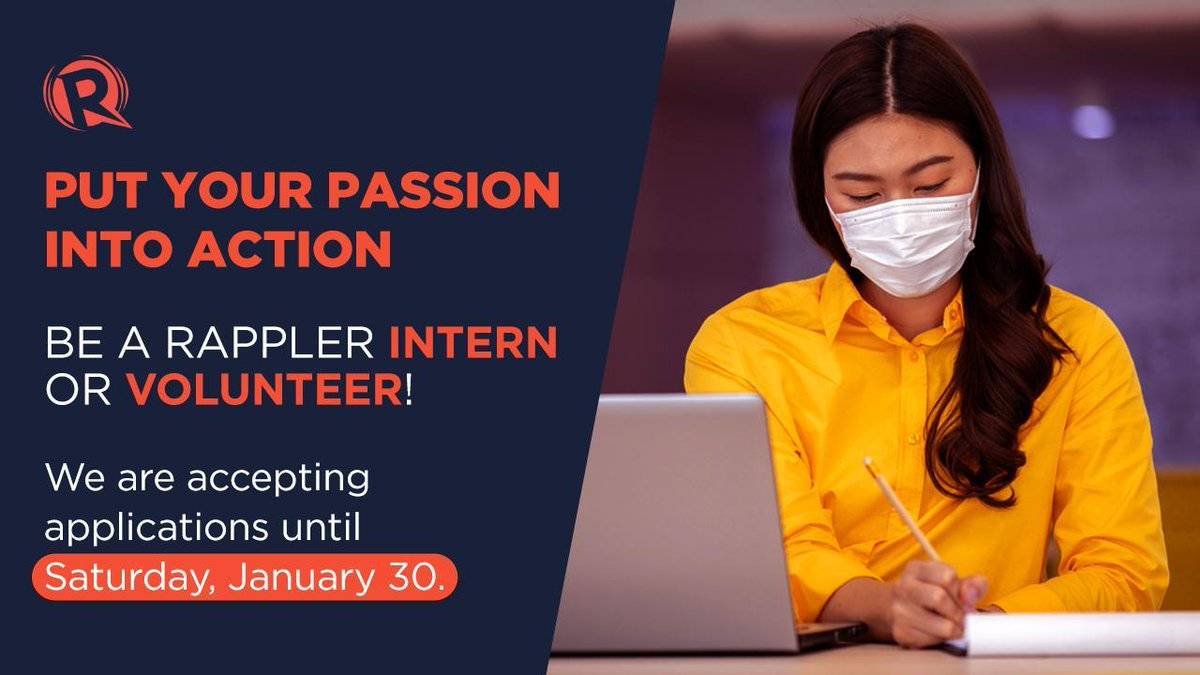 Rappler is looking for hardworking, committed and talented interns and volunteers! Applicants must be willing to work through a remote work setup within the internship/volunteer period of February to April 2021. READ:rappler.com/moveph/rappler…