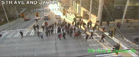 UPDATE: March on James St moving WB from 5th Ave blocking the all lanes. Use caution and seek alternate routes. https://t.co/Ra9xUUeQE8