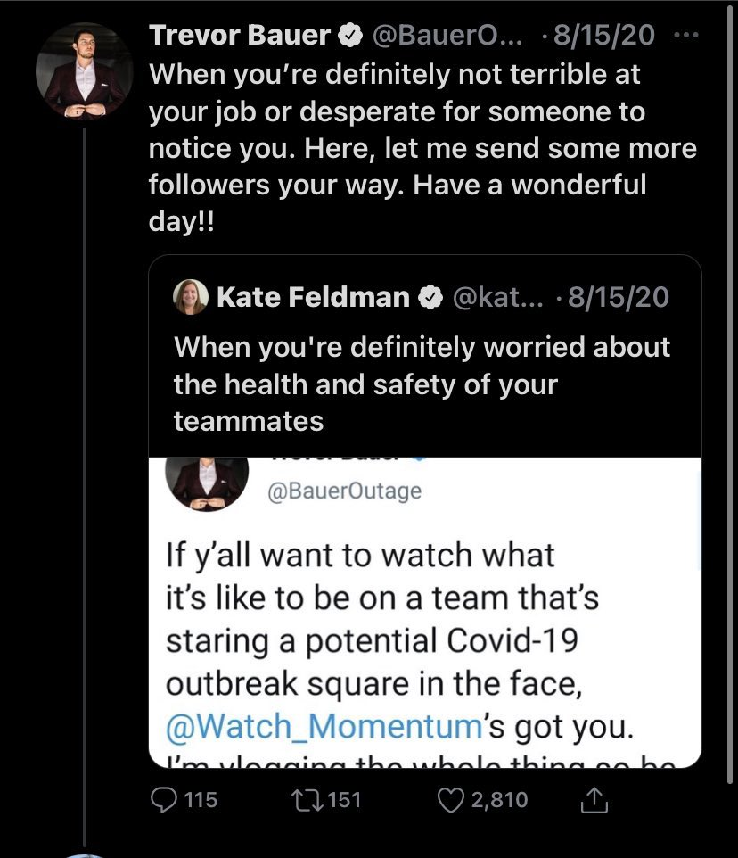Can someone show me what @BauerOutage has done on social media to demoralize/mistreat women besides this? Seems like she went after him first, then he responded. Nothing malicious here. What people commented after that is not Bauer's fault. TB would have done the same to a man...