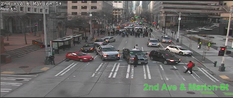UPDATE: March on 2nd Ave between Madison St and Marion St blocking all lanes. Use caution and seek alternate routes. https://t.co/hYmvABydkQ