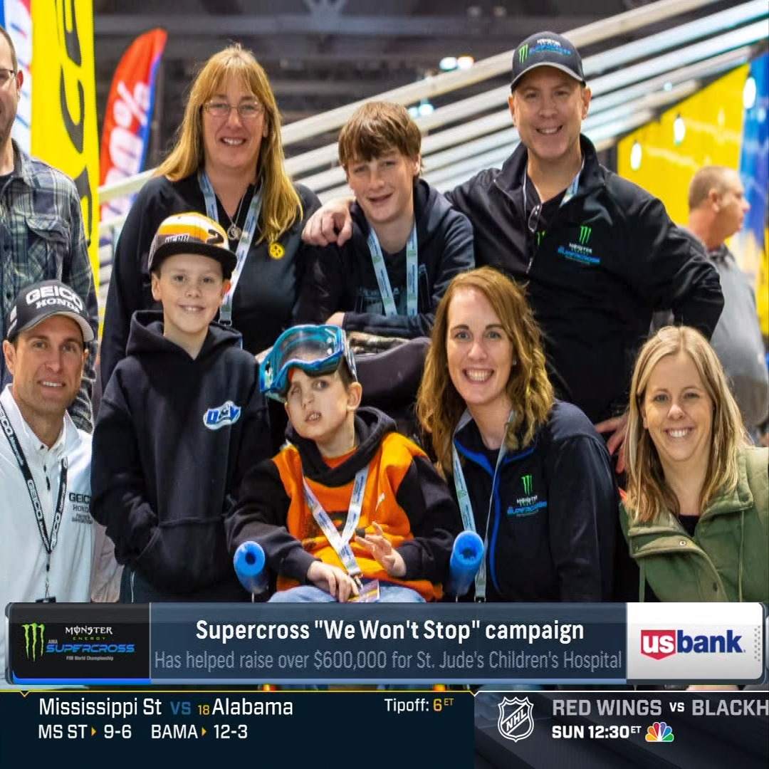 "Supercross' ""We Won't Stop"" campaign has raised over $600,000 for St. Jude's Children Hospital in the past three years.   [NBC Sports 