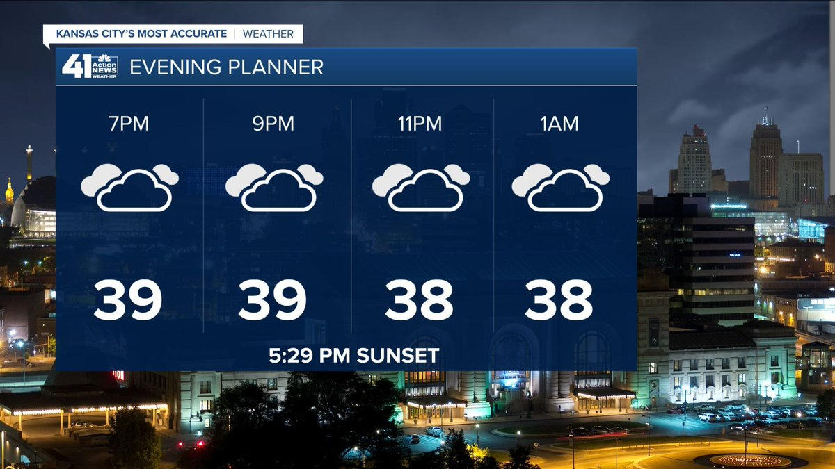 Some pockets of light rain or wintry mix are possible tonight but we are dry for the most part. Temperatures will hold steady in the 30s through tomorrow morning. #mowx #kswx #kcwx